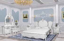 Спальня Дольче Вита белый глянец с серебром