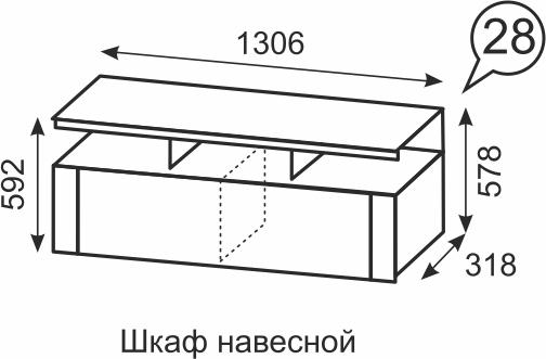 Шкаф навесной Твист 28