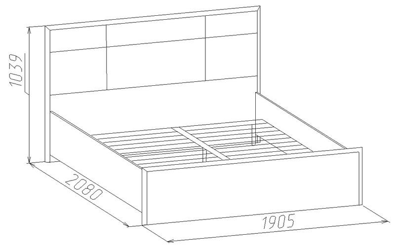 Кровать Люкс Амели 101 с ортопедическим основанием 1800 мм дуб отбеленный