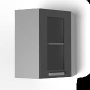 Угловой навесной шкаф 550х550 угол скос со стеклом УВС ЛБДП