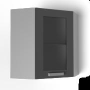 Угловой навесной шкаф 600х600 угол скос со стеклом УВС2 ЛБДП