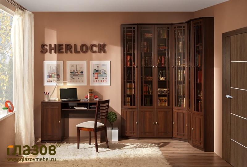 Библиотека Шерлок орех шоколадный дуб сонома - фото товара